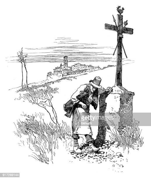 ilustraciones, imágenes clip art, dibujos animados e iconos de stock de apoyado por la cruz - un solo hombre