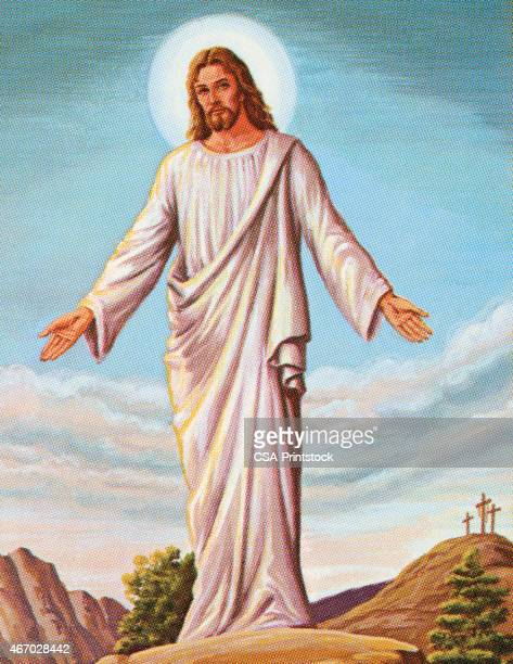 resurrected jesus - jesus christ stock illustrations, clip art, cartoons, & icons