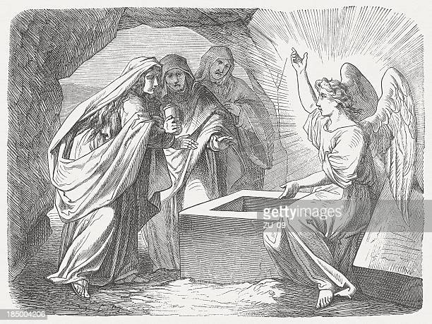 resurrection message (matthew 28, 5-7), wood engraving, published in 1877 - easter sunday stock illustrations