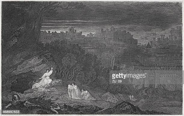 resurrection morning (matthew 28), by john martin (1789-1854), published 1836 - empty tomb stock illustrations