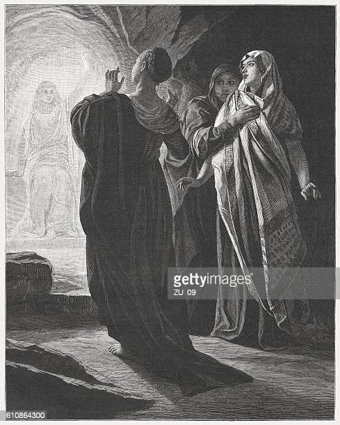 resurrection of christ, wood engraving after gustav spangenberg, published 1882 - jesus tomb stock illustrations