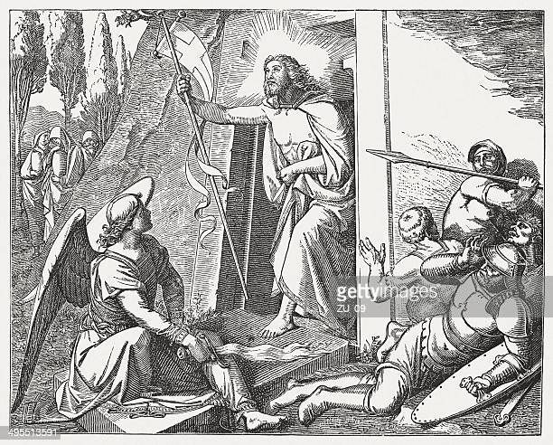 resurrection of jesus christ, by friedrich overbeck, published in 1881 - jesus tomb stock illustrations