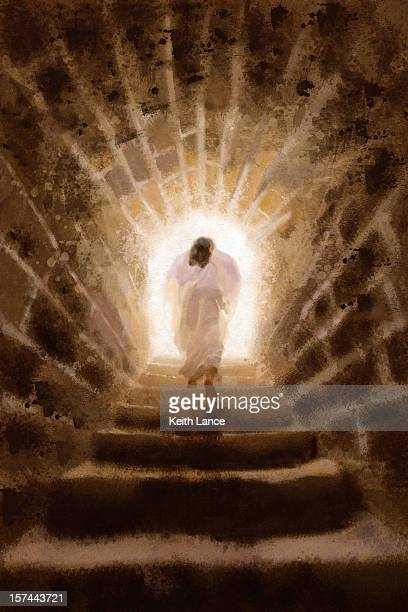 resurrection of jesus christ (illustration) - jesus christ stock illustrations, clip art, cartoons, & icons