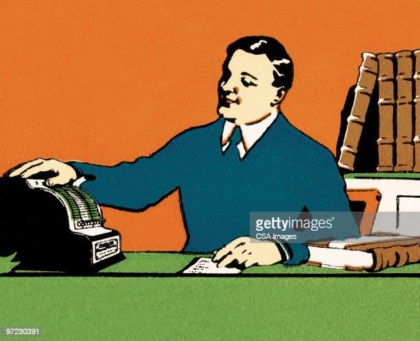 retail clerk - accounting ledger stock illustrations, clip art, cartoons, & icons