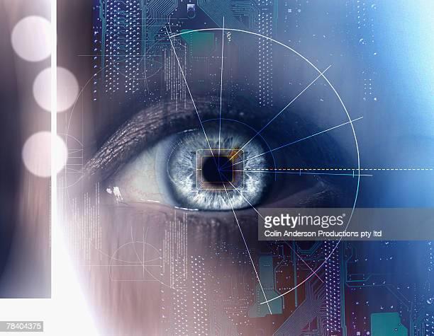 retinal scan - access control stock illustrations, clip art, cartoons, & icons