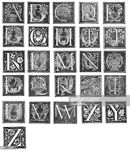 ilustrações, clipart, desenhos animados e ícones de alfabeto de letras retrô - letrac