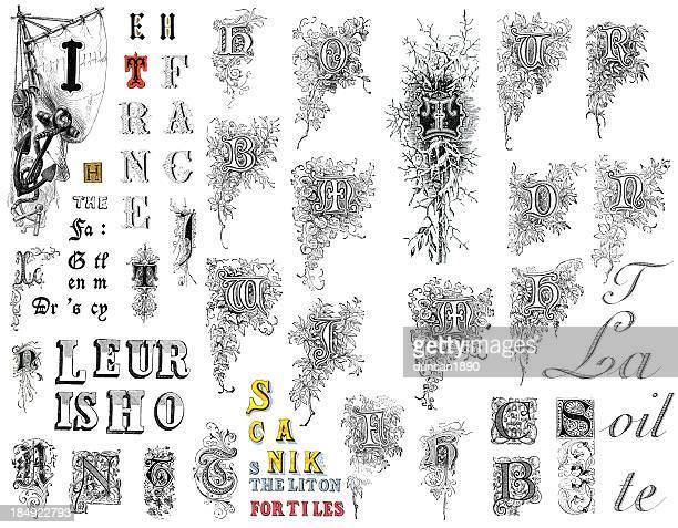 ilustrações de stock, clip art, desenhos animados e ícones de retro alfabeto letras - letrac