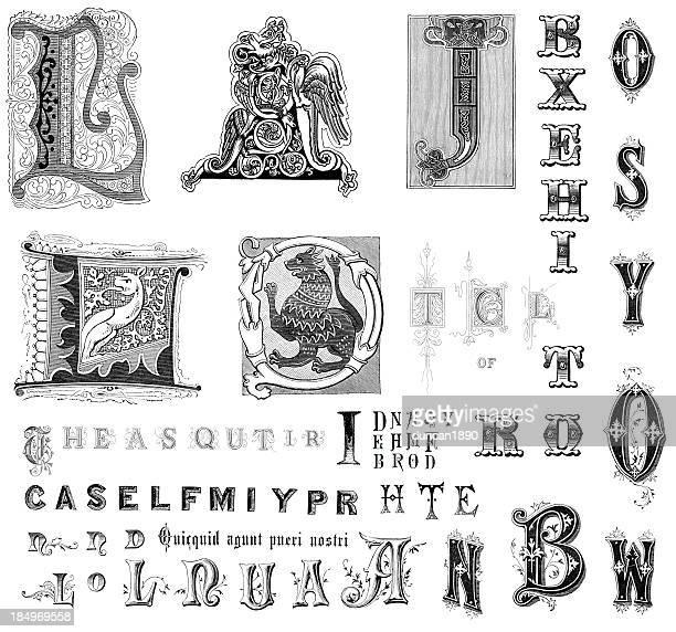 stockillustraties, clipart, cartoons en iconen met retro alphabet letters - hoofdletter