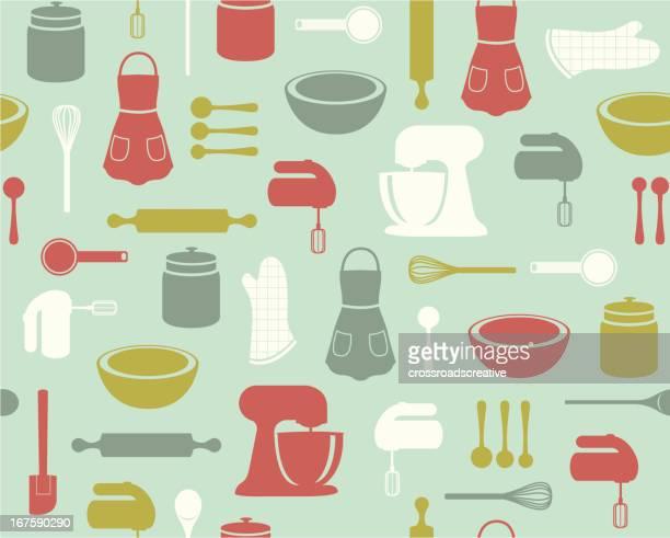 retro baking pattern - baked stock illustrations, clip art, cartoons, & icons