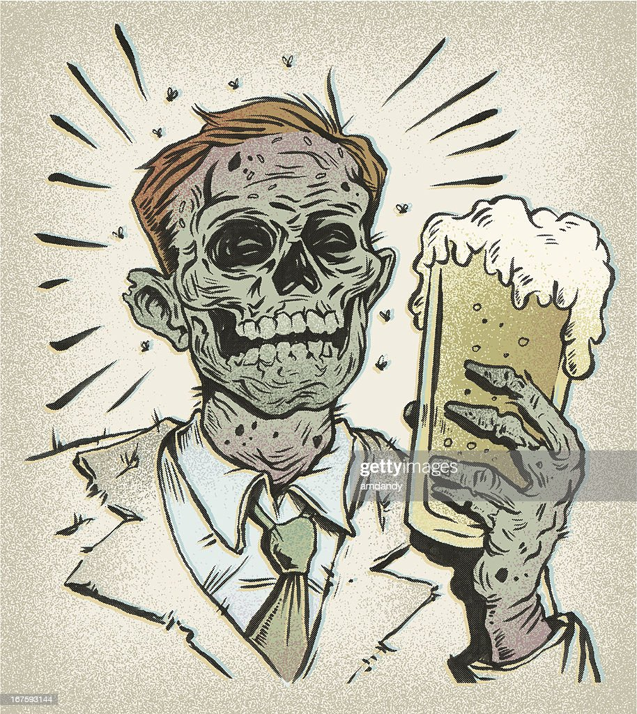 Retro Beer Buddy - the undead : stock illustration