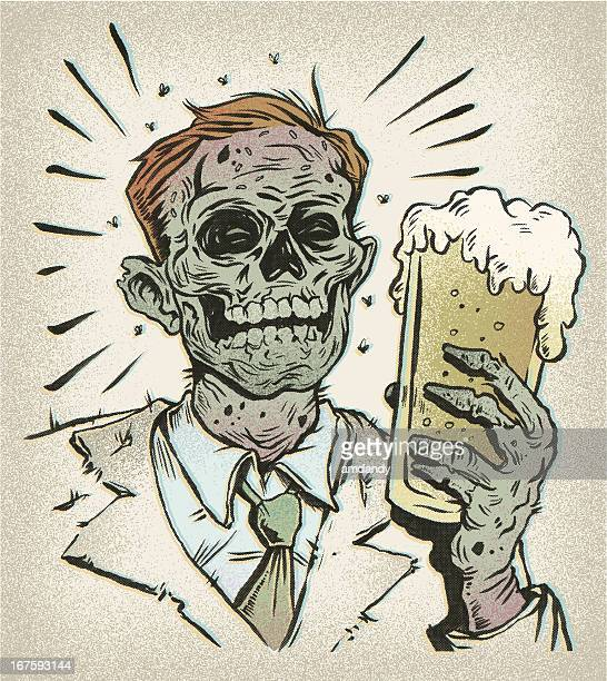 retro beer buddy - the undead - zombie stock illustrations, clip art, cartoons, & icons
