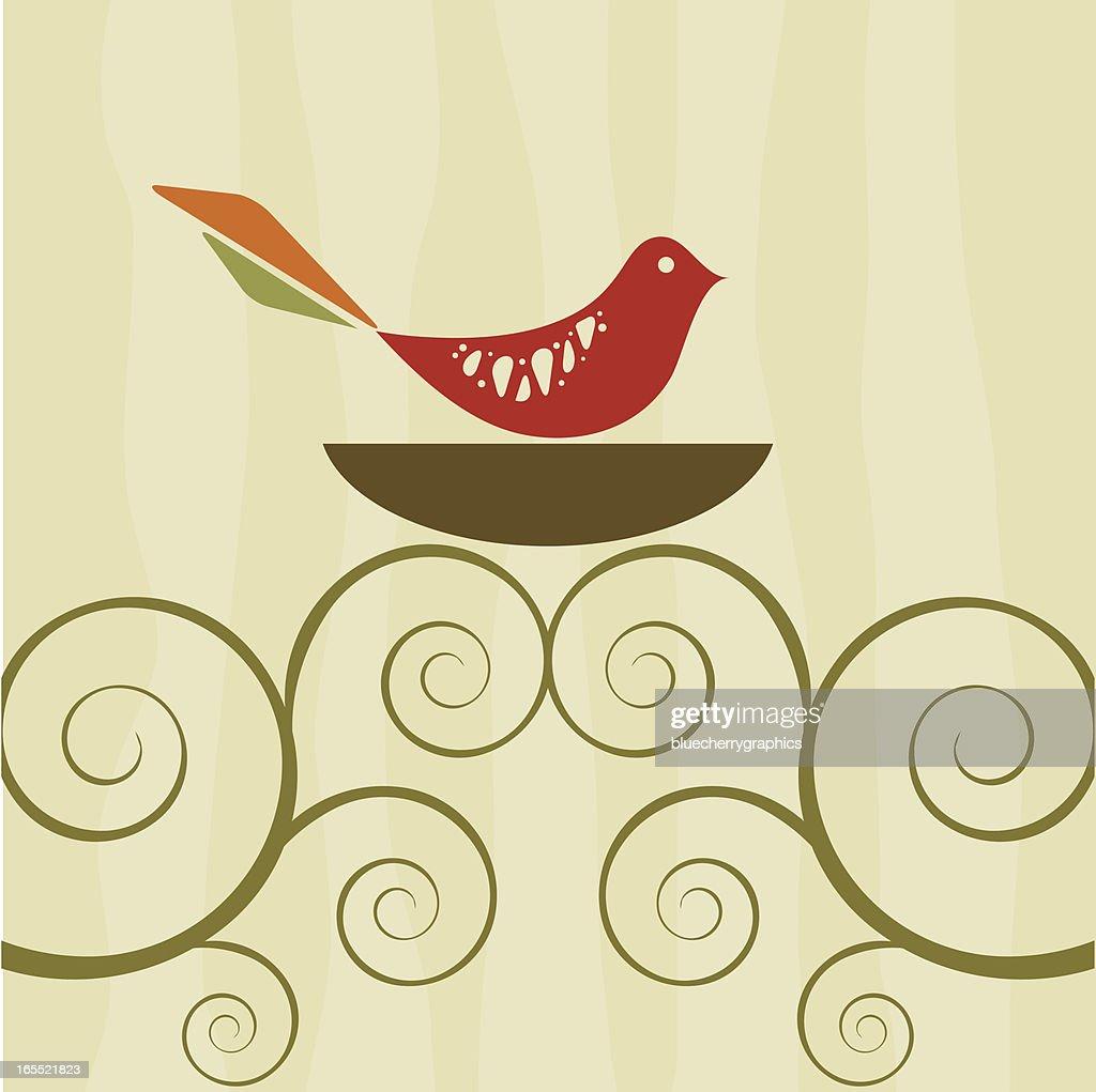 Retro bird on swirly tree nest