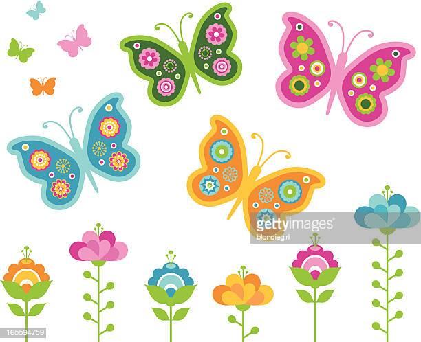 ilustrações, clipart, desenhos animados e ícones de retro borboletas - borboleta