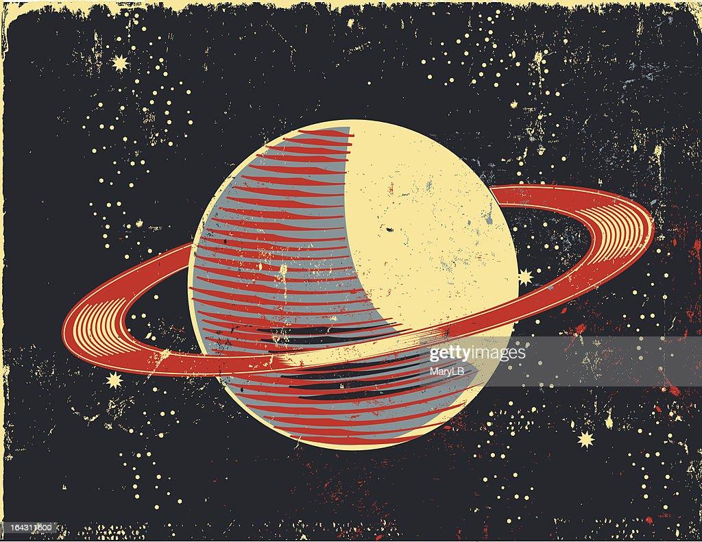 Retro cartoon Saturn