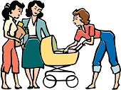 Retro Casual Women with Baby Carriage