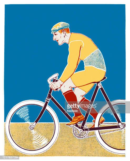 stockillustraties, clipart, cartoons en iconen met retro fietser - wielrennen