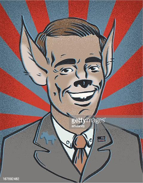 ilustraciones, imágenes clip art, dibujos animados e iconos de stock de retro demócrata para presidente - donkey