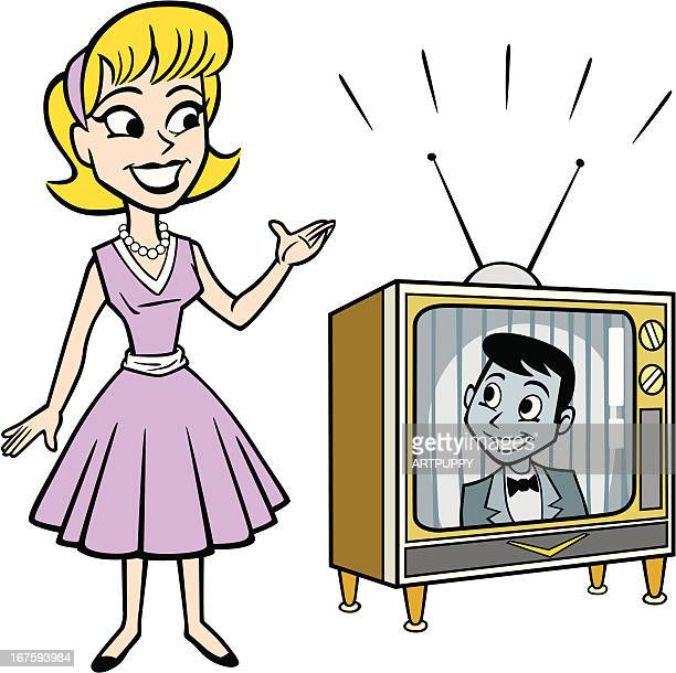 retro fifties woman with tv set - television aerial stock illustrations, clip art, cartoons, & icons