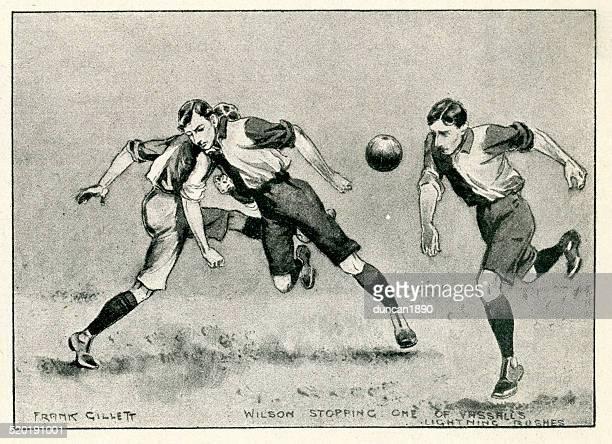 stockillustraties, clipart, cartoons en iconen met retro football match - verdediger voetballer