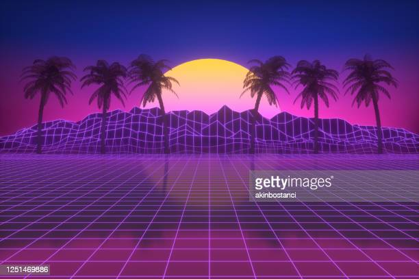 retro futuristic sun with palm trees, 80s abstract background - nebula stock illustrations