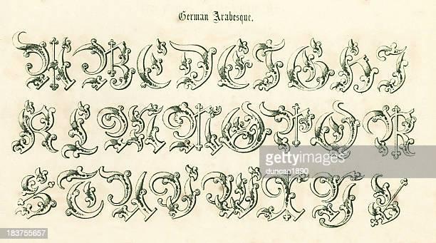 retro german arabesque script - pejft 幅插畫檔、美工圖案、卡通及圖標