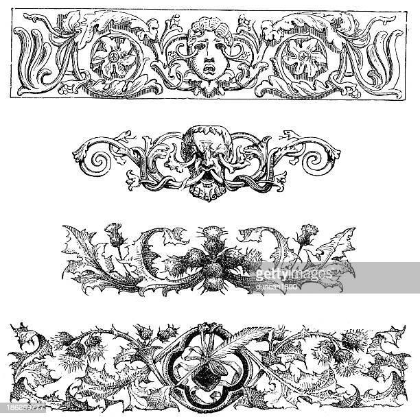 retro gothic design elements - thistle stock illustrations, clip art, cartoons, & icons