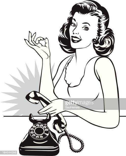 retro housewife and phone - candlestick phone stock illustrations