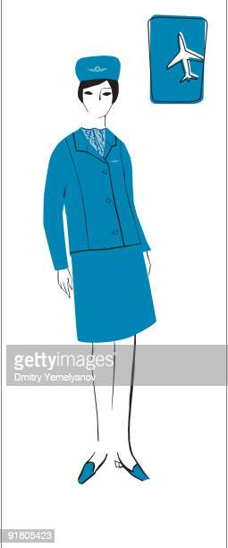 A retro illustration of a female flight attendant