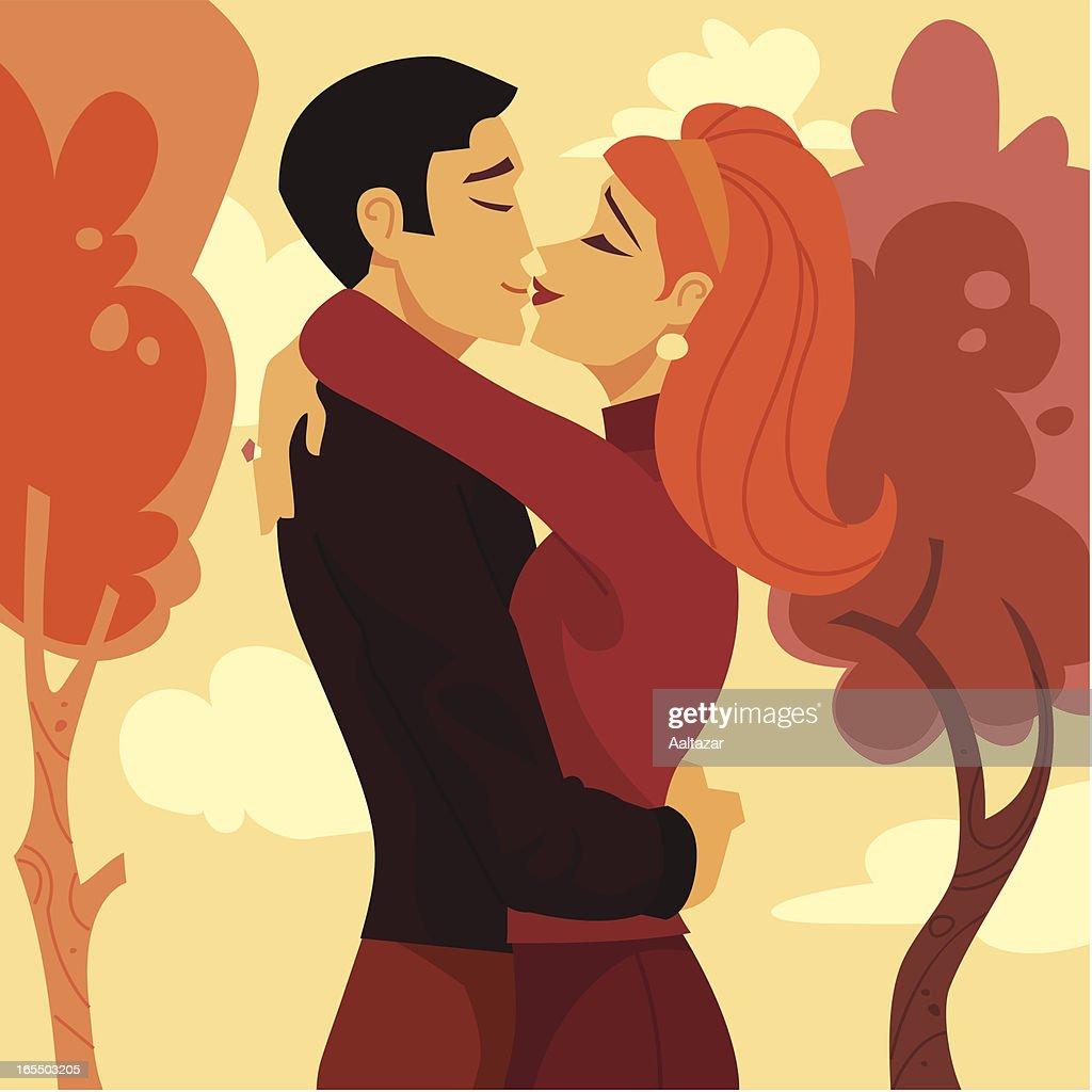 Retro Lovers Kissing : stock illustration