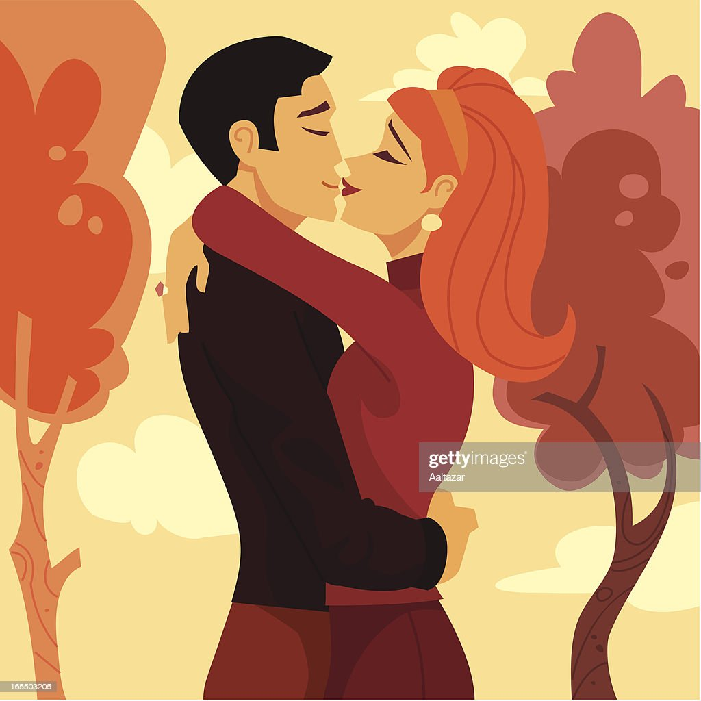 Retro Lovers Kissing