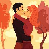 Retro Lovers Kissing