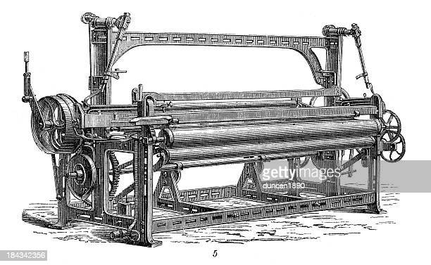 retro machinery -  jacquard weaving - loom stock illustrations