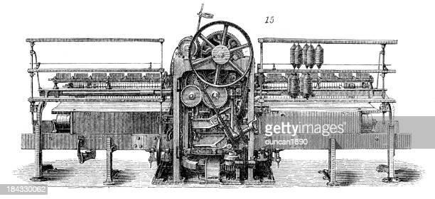 ilustraciones, imágenes clip art, dibujos animados e iconos de stock de retro maquinaria de acción máquina de algodón de valet - revolucion industrial