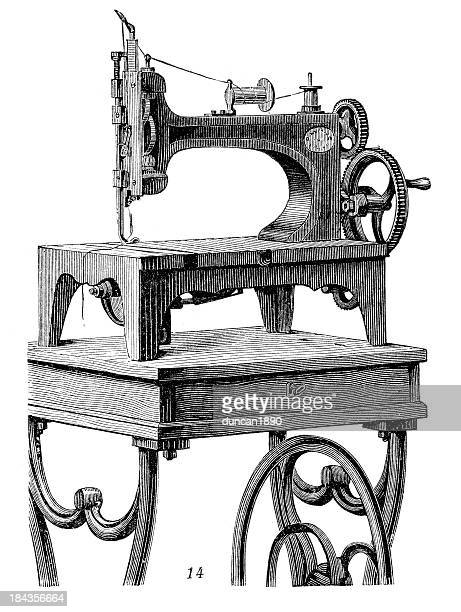 retro machinery - sewing machine - sewing machine stock illustrations, clip art, cartoons, & icons