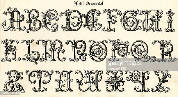retro metal ornamental script - letter d stock illustrations, clip art, cartoons, & icons