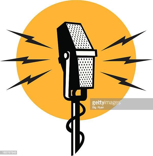 retro mic - microphone stock illustrations