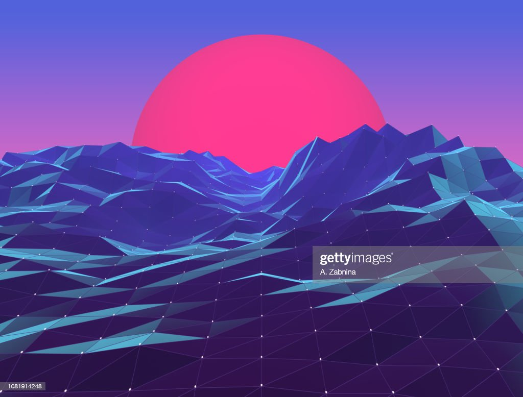 Retro Neon Polygon Vaporwave Sunset stock illustration - Getty Images