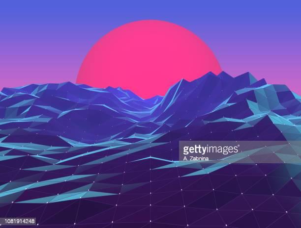 retro neon polygon vaporwave sunset - horizontal stock illustrations