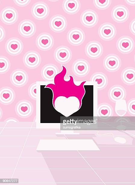 retro pink online dating pc [ vector computer ]