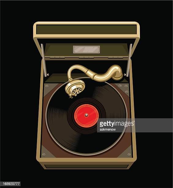 retro record player - gramophone stock illustrations, clip art, cartoons, & icons