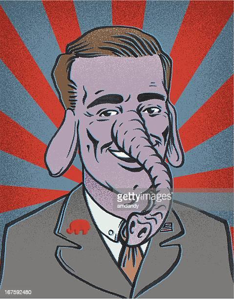 retro republican elephant - us republican party stock illustrations, clip art, cartoons, & icons