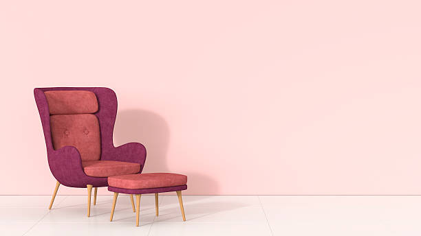 retro style arm chair and stool against pink wall - pink stock illustrations
