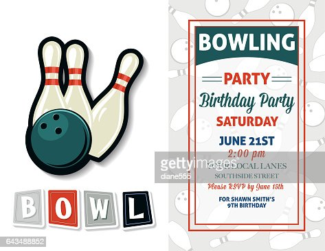 Retro style bowling birthday party invitation template vector art similar images stopboris Images