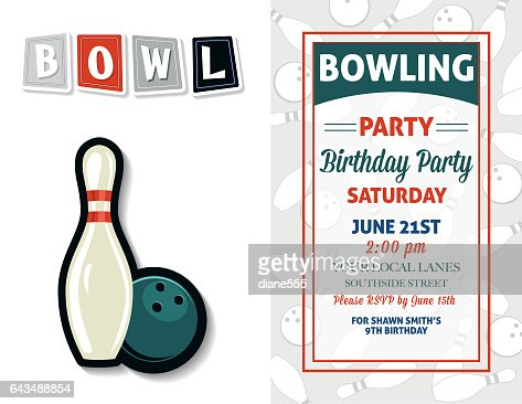 Retro Style Bowling Birthday Party Invitation Template Vector Art - Bowling birthday party invitation template