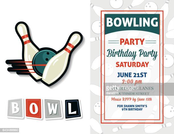 retro style bowling birthday party invitation template - bowling pin stock illustrations