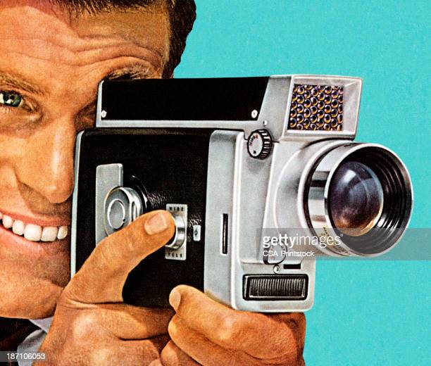 retro style painting of man using vintage video camera - video camera stock illustrations, clip art, cartoons, & icons