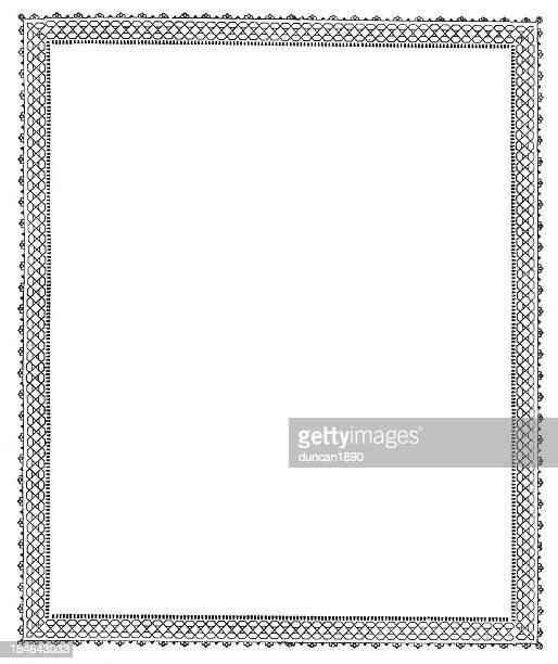 レトロなビクトリア様式のボーダー - 黒枠点のイラスト素材/クリップアート素材/マンガ素材/アイコン素材