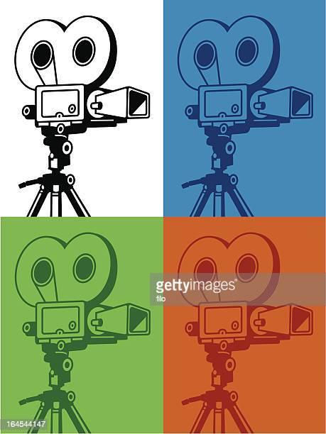 retro video camera - camera tripod stock illustrations, clip art, cartoons, & icons