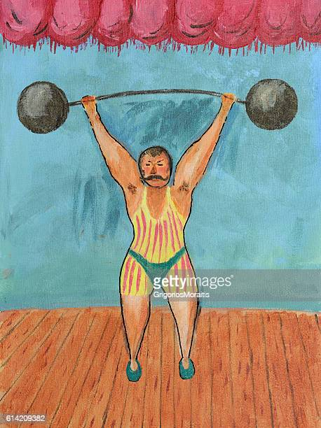 Retro Weightlifting Painting