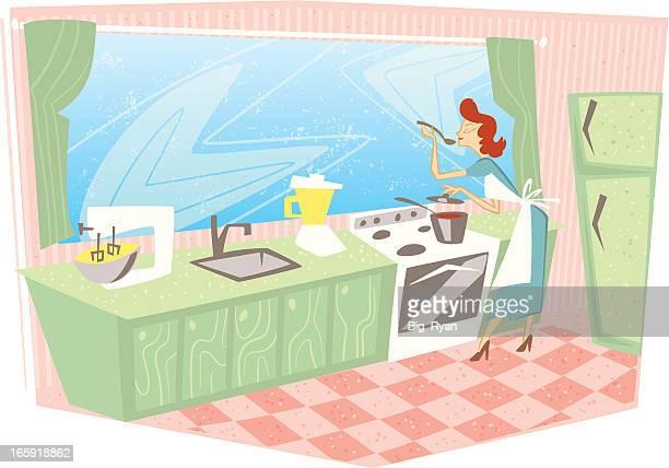 retro woman kitchen
